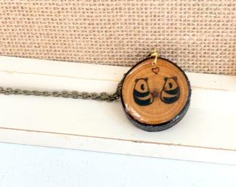 Panda Pendant, Panda Necklace, Cute Panda Art, Panda Couple, Wood Burned Pendant, Wood Slice Pendant, Wooden Pendant, Pyrography
