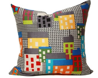 Skyline pillow cover , pop up art pillow, multi color buildings, modern pillow cover, scandinavian pillow, colorful buildings pillow