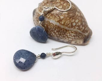 Blue Coral Earrings - Blue Coral Jewelry - Natural blue coral - Denim blue earrings - sterling earrings - Blue Jewelry -Blue Coral Tears