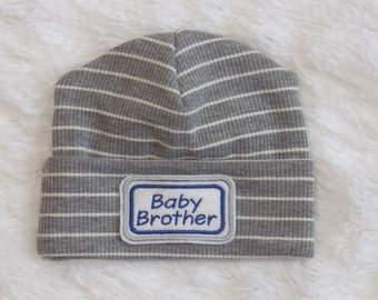 Newborn Hospital Hat. Baby Brother Hospital Beanie. Grey Newborn Hat. Personalized Newborn Hat.