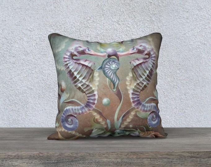 fantasy seahorse pillow cover pastel colors