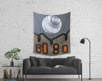 Merveilleux Gray Wall Tapestry, Abstract Urban Tapestry, Unique Wall Art, Large  Tapestries, Wall