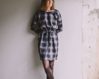 Women's Colorful Dress, Striped Short Dress, Long Sleeve Dress, Dress With Pockets, Dress With Belt, Autumn/Spring Dress, Cosy Dress