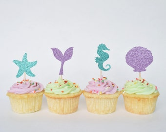 Mermaid Party Decorations...Mermaid Cupcake Toppers...Under the Sea Party Decor...Mermaid Birthday...Mermaid Decor...Under the Sea Birthday