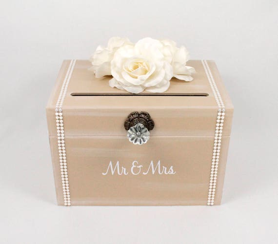 Vintage Wedding Card Box Taupe Ivory Pearl Trunk