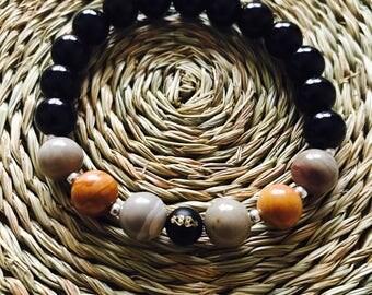 sunset stone & onyx unisex bracelet