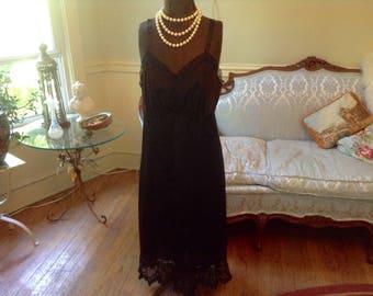 1950s Vintage Lingerie Full Slip Black Lace Bottom Sz 40 by Mojud