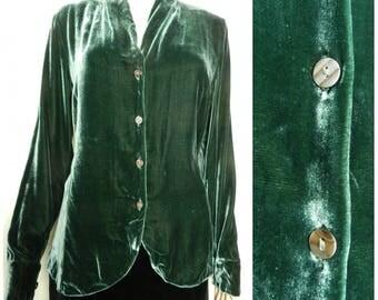 90s SILK velvet dark green / sage green slinky fitted blouse U.K. 10 - 12 sm m