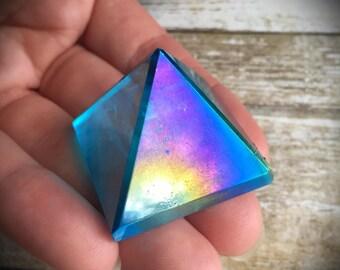 Aqua Aura Quartz Pyramid