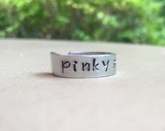 Pinky Swear Ring - Pinky Ring - Pinkie Ring - Pinkie Swear Ring - Engraved Ring - Personalized Ring - Pinky Promise Ring