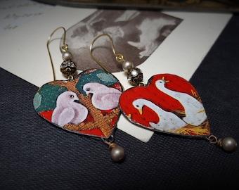 RESERVED Re cycled Tin Earrings. Bird Earrings