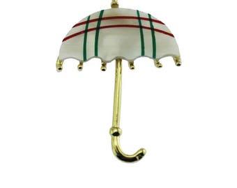 Gold and White Umbrella Brooch, Gold and White Umbrella Pin