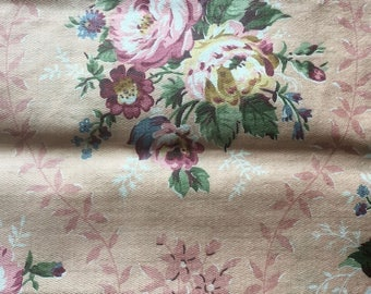 """Vintage Antique Cotton Chintz Fabric- Pink Cabbage Roses on pink // 1 yard x 36"""" > GORGEOUS and OLD"""