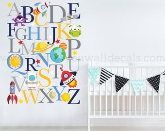 Space Wall Decal, Alphabet Wall Decal, Playroom Wall Decal, Nursery Wall Decal, Alphabet Decal, Space Decals, Alphabet Nursery Art 01-0042