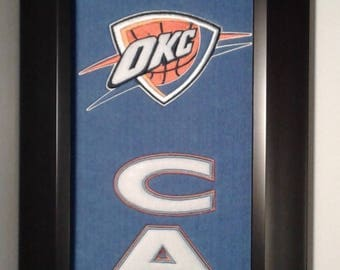 Oklahoma City Thunder Man Cave Team Banner....Framed