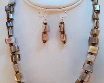 Mother of Pearl Shell Necklace & Earring Set