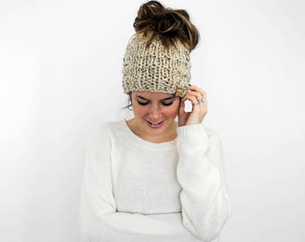 Messy Bun Hat, Ponytail Hat, Knit Bun, Running Hat Oatmeal- Piscataway Ponytail Hat