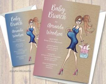 Sassy Baby Shower Invitation, digital file