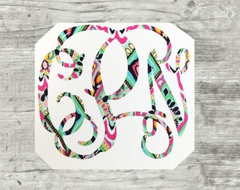 Lilly Pulitzer Monogram Decal Car Window Decal Monogrammed Preppy Patterned Sticker