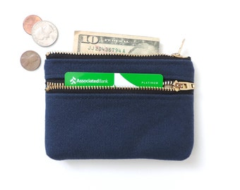 Double Zipper Wallet Coin Purse Pouch Canvas Navy Blue