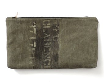 Recycled Military Canvas Zipper Pouch WWII
