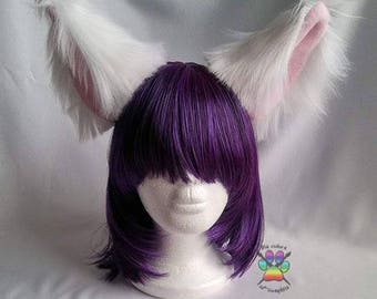 Large White Cosplay Furry Costume Headband Roleplay Fox Ears