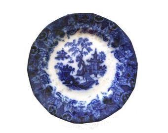 Sale!   Antique Scinde Flow Blue Plate Transferware cobalt blue and white 1845 plate pagoda marked T Walker Scinde Ironstone 9.25 inch