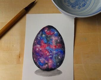 Galaxy Dragon Egg Watercolor Painting OOAK