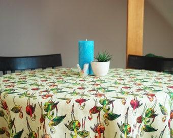 Linen tablecloth Scandinavian tablecloth Scandinavian Fabric Housewarming gift Flamongos linen tablecloth