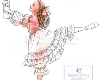 Digital Stamp - Clara - The Nutcracker Ballet - Clara in Arabesque with a Nutcracker - digistamp - Holiday Line Art for Cards & Crafts