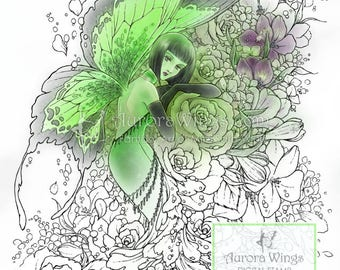 Digital Stamp - La Fée Verte - The Green Fairy - 1920s Flapper Fairy with Roses - Fantasy Line Art for Cards & Crafts by Mitzi Sato-Wiuff