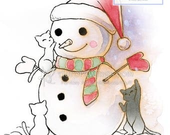 Digital Stamp Instant Download - We Love Snowman! - Whimsical Winter Holiday Cats Line Art for Cards & Crafts by Mitzi Sato-Wiuff