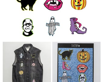 Spooky Halloween Season Embroidered Sticker Patch Set Pop Culture Collection