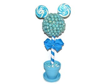 Customizable Lollipop Mouse Topiary, Blue Mouse Candy Topiary, Blue Mouse Centerpiece, Mouse Candy Buffet, Blue Mouse Baby Shower, Party