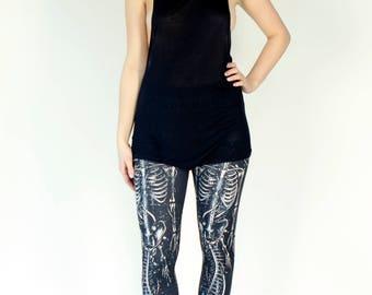 Grunge Black & White Skeleton Printed Leggings