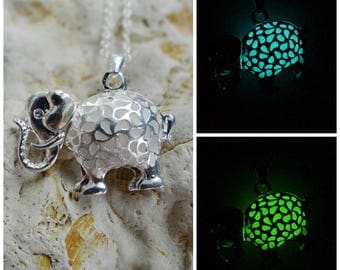 Yoga jewelry elephant necklace glow in the dark meditation jewelry gift best friend necklace turquoise jewelry animal necklace hipster gift