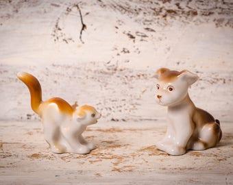 Cat lovers gift porcelain cat figurine vintage cat white ceramic animal figurine vintage cat  glazed Ceramic Handpaint soviet porcelain