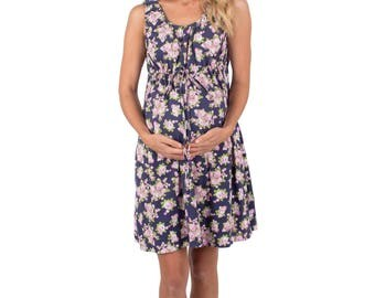 Eve Blue Roses Floral Maternity - Labor & Delivery- Nursing Gown 3 in 1 Baby Be Mine Birthing Hospital Gown, Hospital Bag Must Have