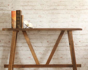 Rustic Console Table U2013 Narrow Sofa Table U2013 Reclaimed Wood Buffet U2013 Small  Footprint Furniture U2013