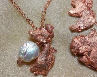 Glacial Copper Pearl Moon Pendant One Of A Kind Lunar Cycle Summer Solstice Float Copper Inland Sea Ice Mermaid Treasure Pure Michigan  U.P.
