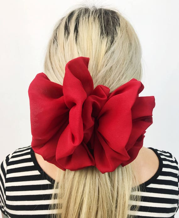 90's Cherry Red Giant Bow French Clip - Large French Clip Hair Barrette - Basic Statement Hair Clip Hipster Nineties Accessory BIG Big Bow