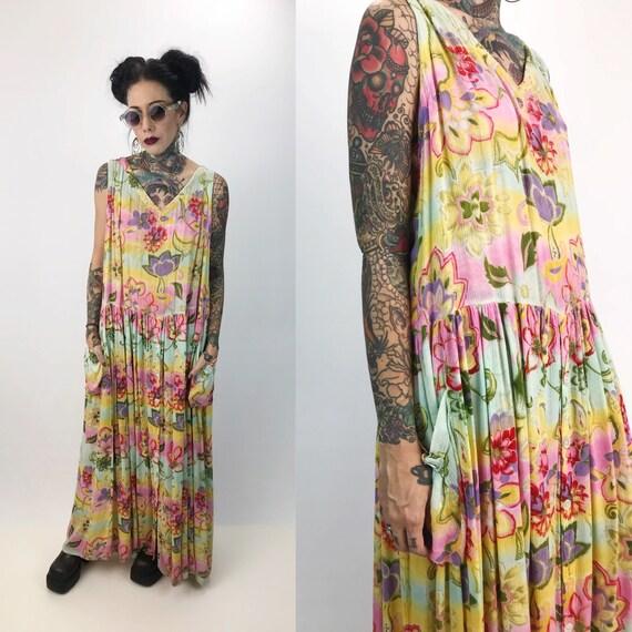 90's Floral Sleeveless Maxi Dress Women's Medium - Bright Painterly Floral Colorful Vintage Maxi - Bohemian Long/Tall Rayon Spring Sundress