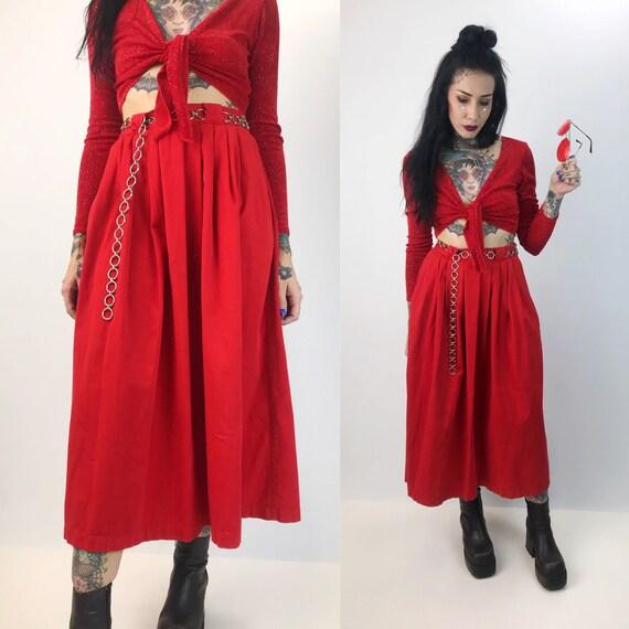 "80's Cherry Red High Waist Midi Skirt Small 27"" - Nautical Vintage Cotton Skirt With Pockets - Classic Preppy A-line Midi Basic Staple Skirt"