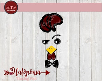 Boy Gamecock Face with Bowtie SVG cut File