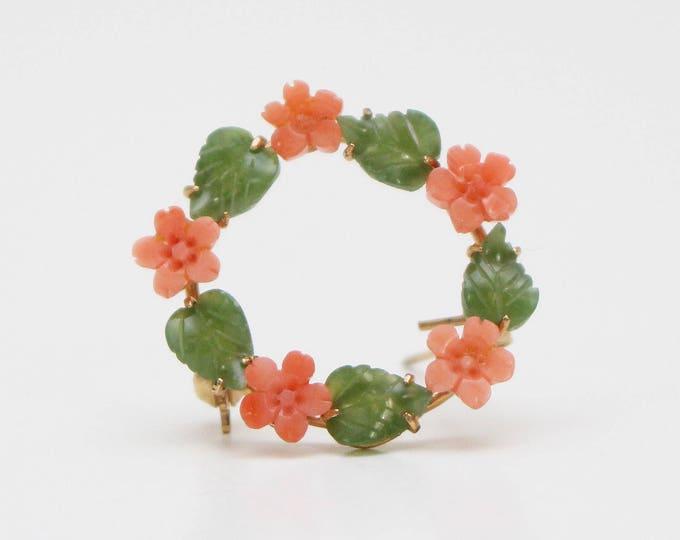 Vintage 1950s Floral Wreath Brooch