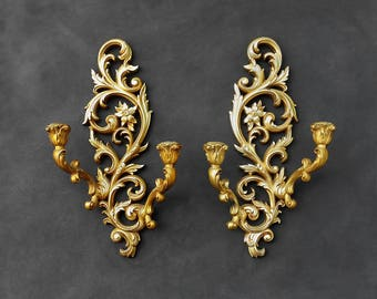 Gold Wood Sconces - Floral Ornate Vintage Syroco - Syroco Wood - Chippy Antiqued Gold