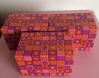 Vintage Mod Metal Recipes/File Box with Pink, Purple and Orange Accents