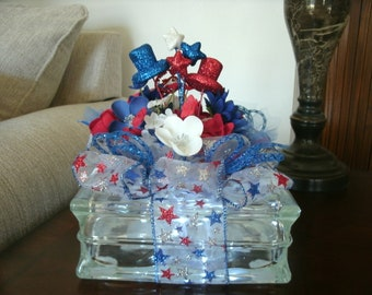 Patriotic Star Centerpiece, Holiday Hats Decor, Lighted Glass Block, 4th of July, Red White & Blue Decor, Americana decor, Table Decor,