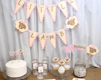 lamb baby shower banner, lamb baby shower, little lamb baby shower, lamb baby shower decorations, lamb baby, lamb baptism decorations