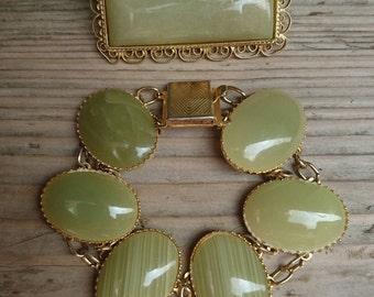 Vintage green moss agate brooch and bracelet set